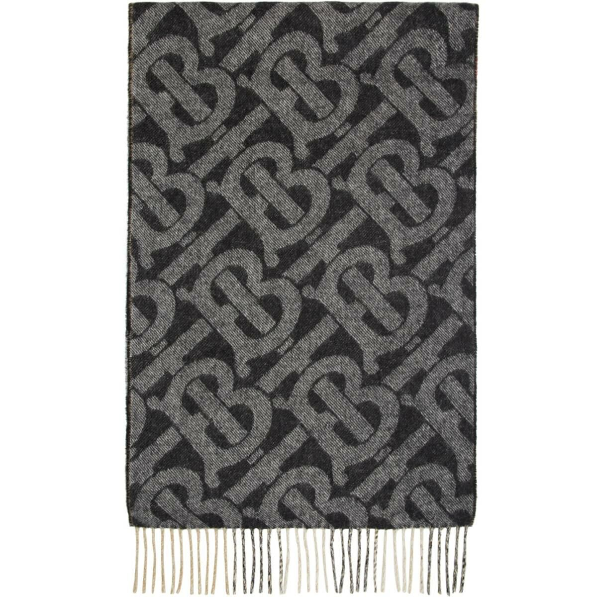 Burberry Reversible Black Cashmere Mega Check and Monogram Scarf Ssense USA MEN Men ACCESSORIES Mens SCARFS