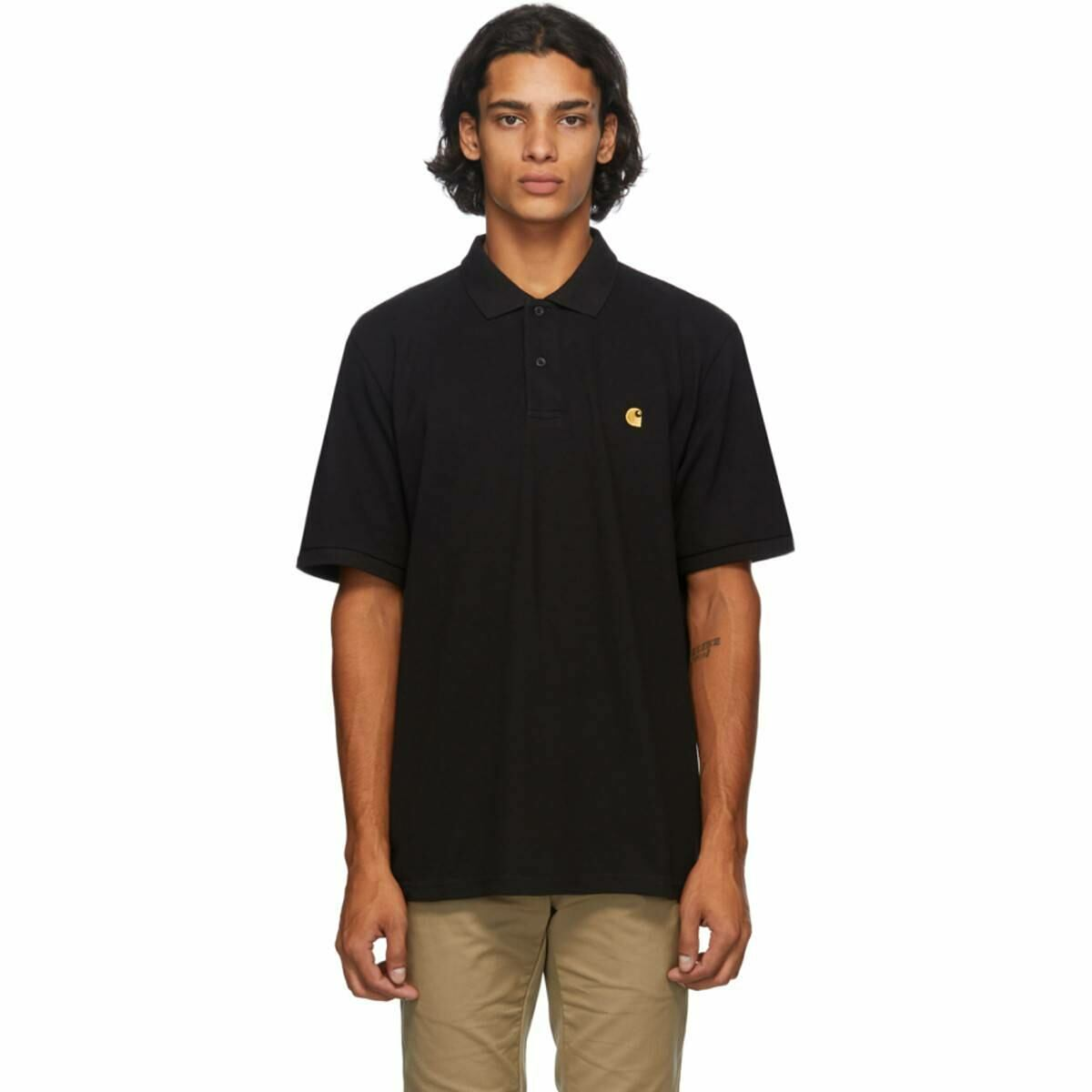 Carhartt Work In Progress Black Chase Polo Ssense USA MEN Men FASHION Mens POLOSHIRTS