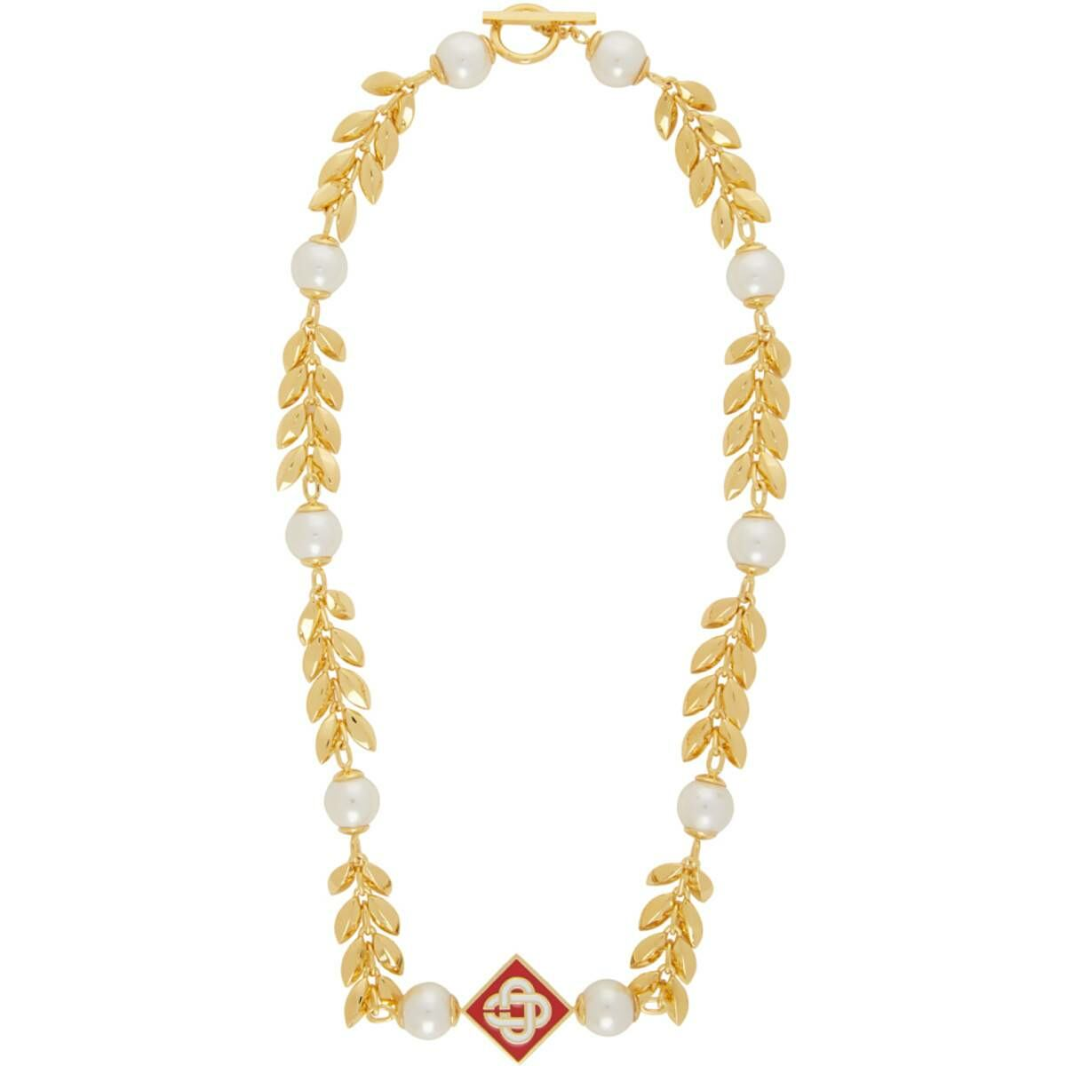 Casablanca Gold Plated O Thongthai Edition Pearl Necklace Ssense USA MEN Men ACCESSORIES Mens JEWELRY