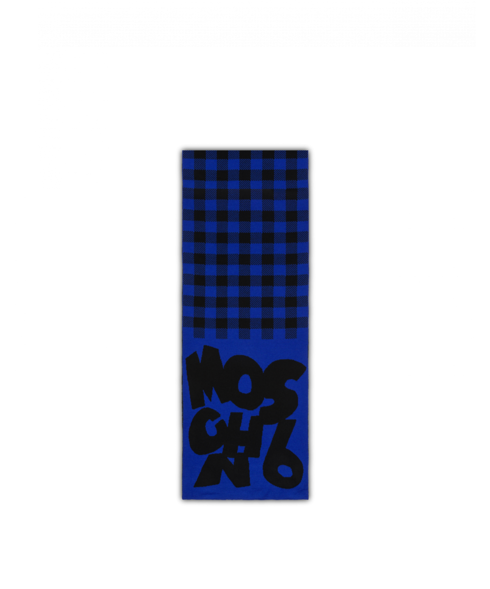 Check Scarf With Logo Moschino UK MEN Men ACCESSORIES Mens SCARFS