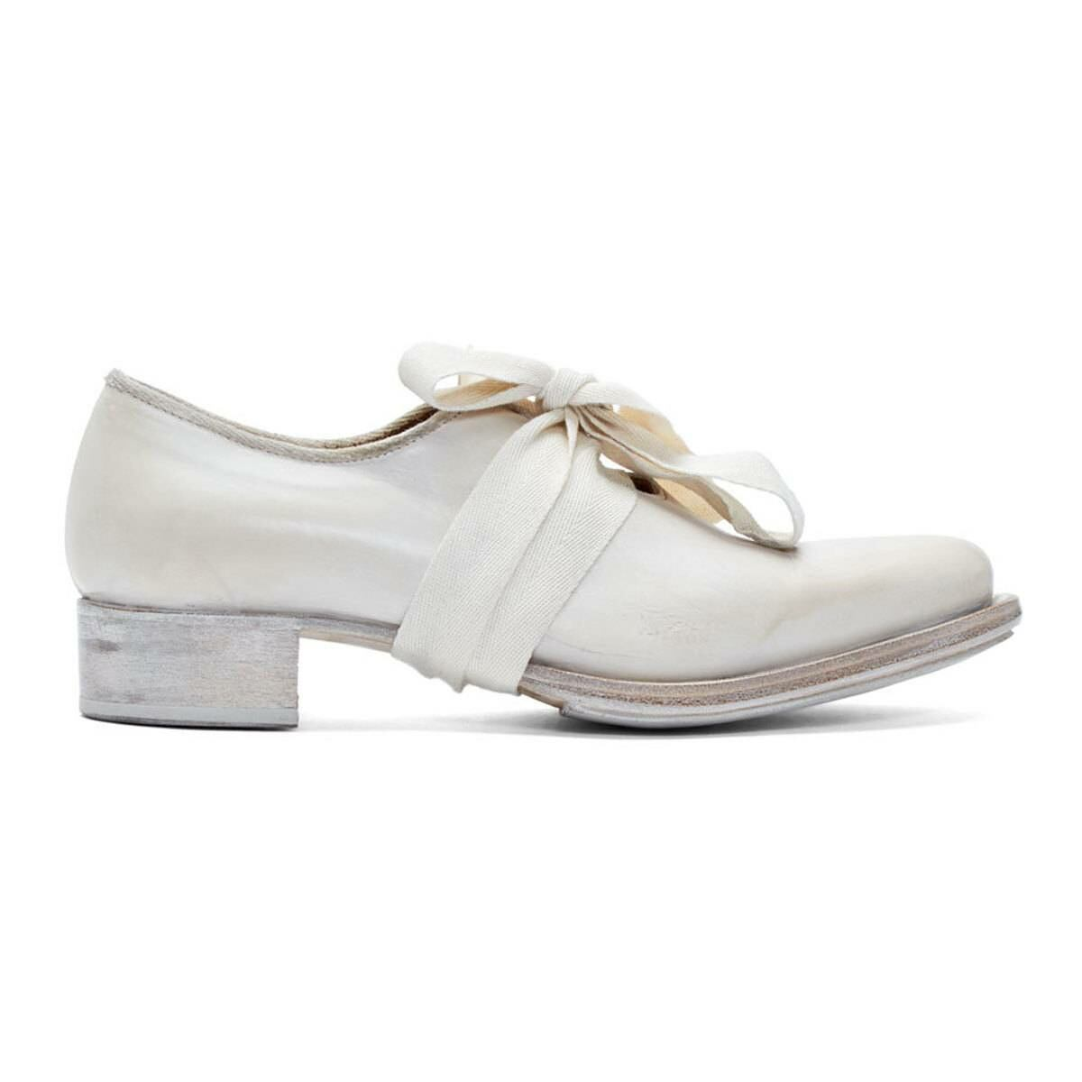 Cherevichkiotvichki White Pointy Bow Derbys Ssense USA WOMEN Women SHOES Womens LEATHER SHOES