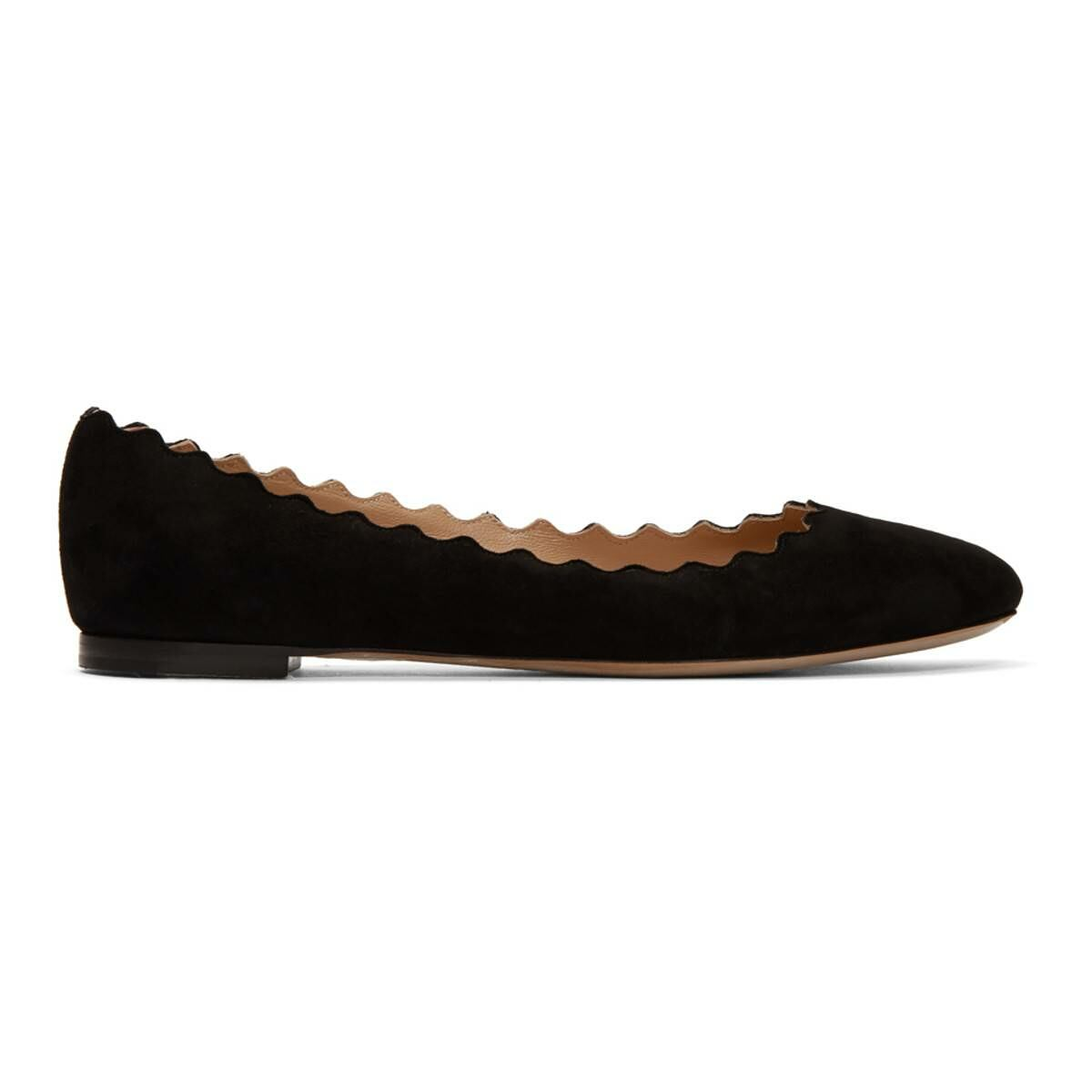 Chloe Black Suede Lauren Ballerina Flats Ssense USA WOMEN Women SHOES Womens BALLERINAS