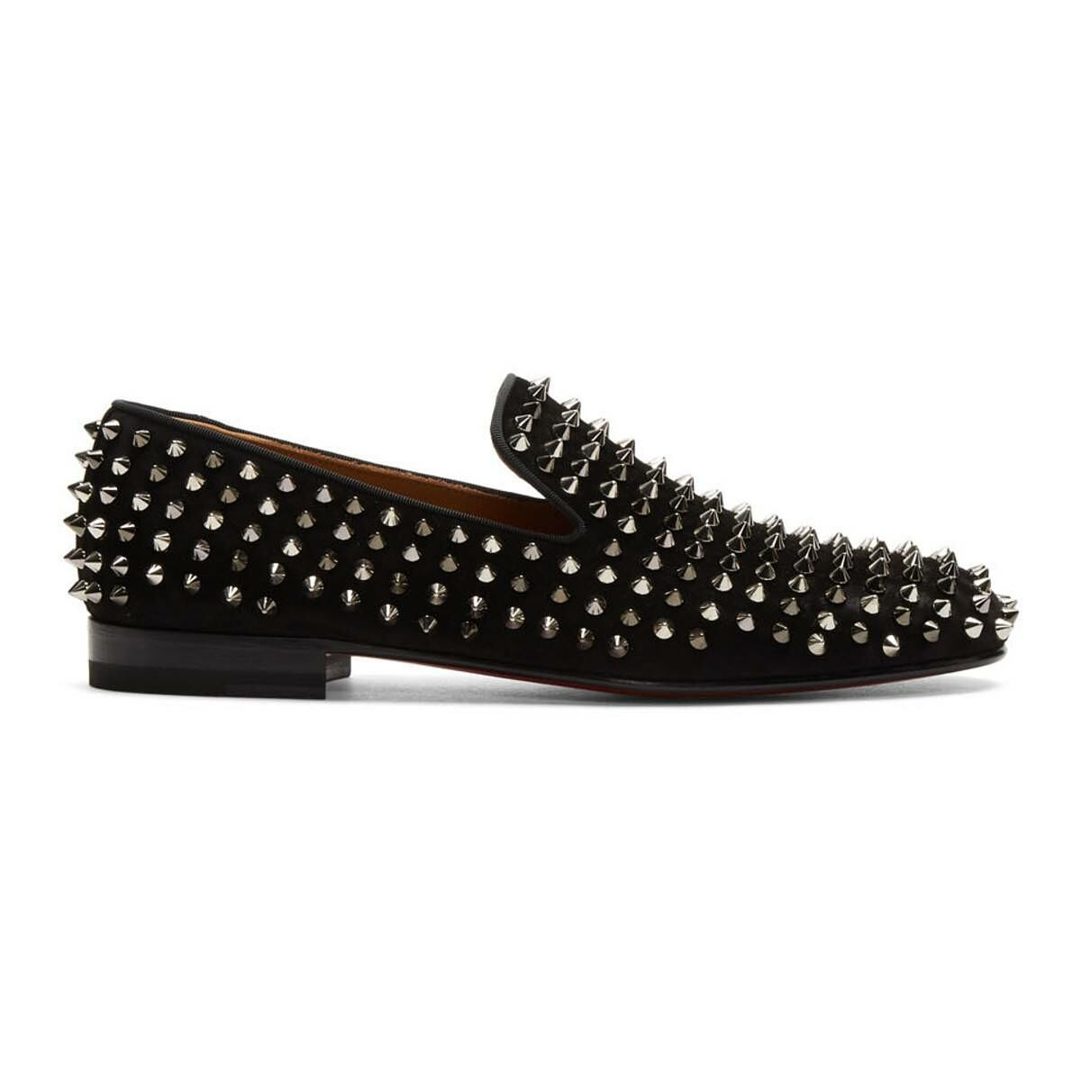Christian Louboutin Black Suede Rollerboy Spikes Loafers Ssense USA MEN Men SHOES Mens LOAFERS