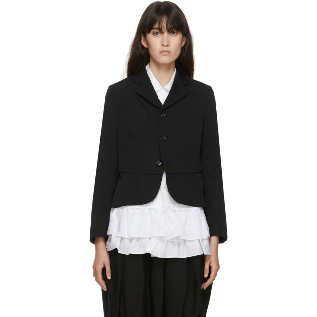 Comme des Garcons Girl Black Wool Tuxedo Blazer Ssense USA WOMEN Women FASHION Womens BLAZER