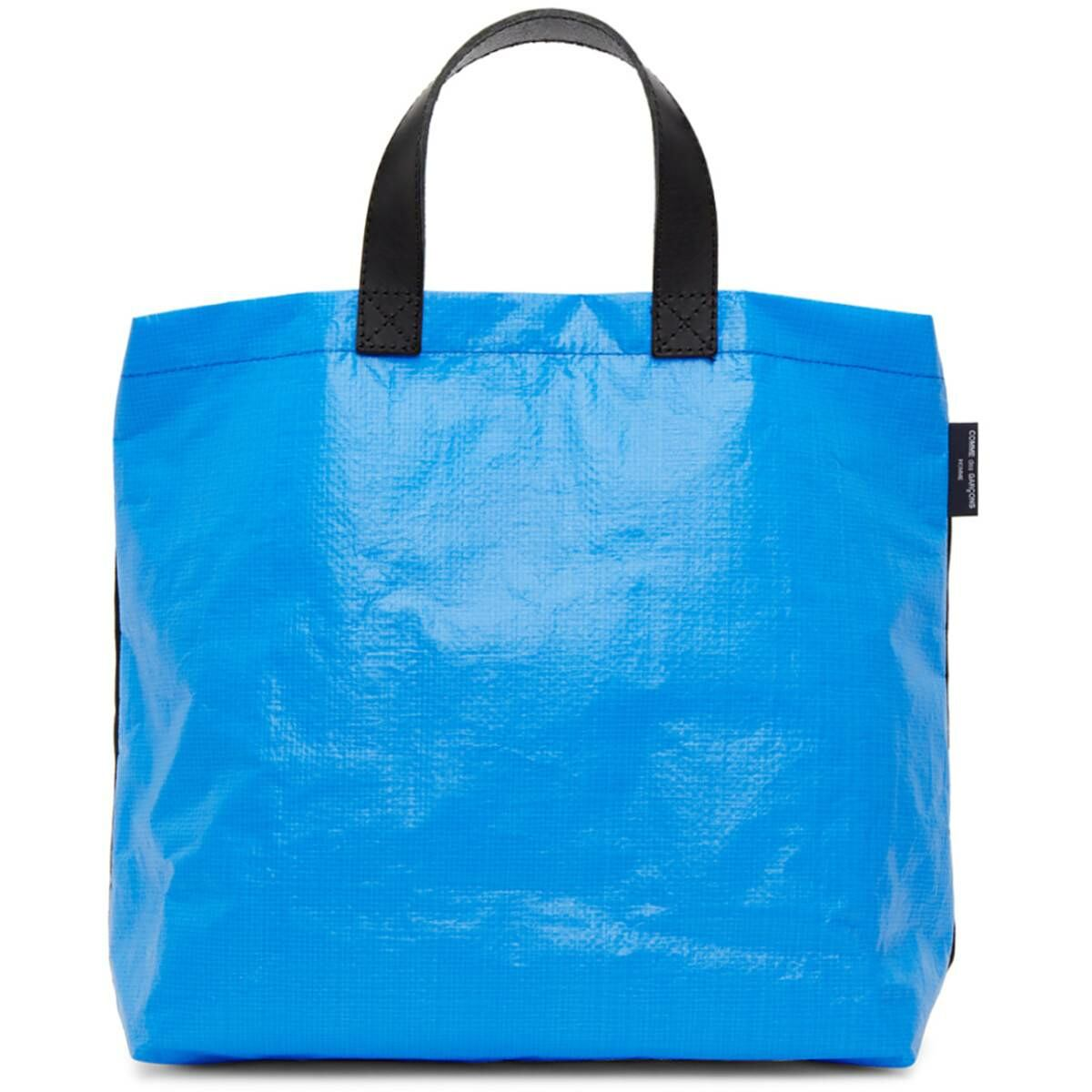 Comme des Garcons Homme Black and Blue Panelled Tote Ssense USA MEN Men ACCESSORIES Mens BAGS