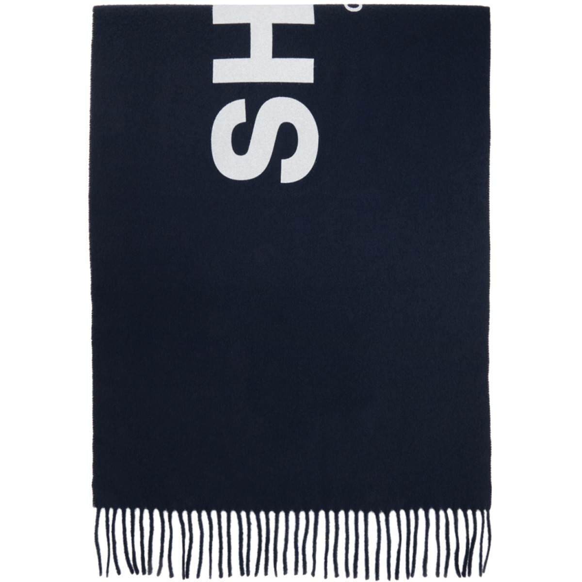 Comme des Garcons Shirt Navy Wool Logo Scarf Ssense USA MEN Men ACCESSORIES Mens SCARFS