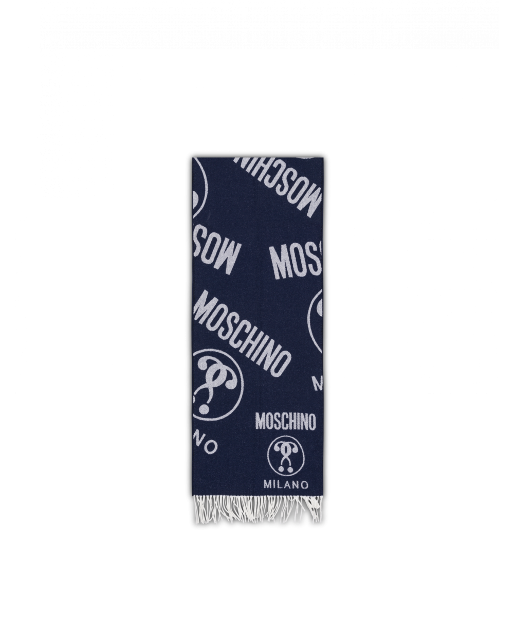 Double Question Mark Wool Scarf Moschino UK MEN Men ACCESSORIES Mens SCARFS