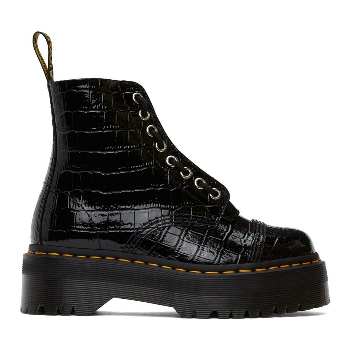 Dr. Martens Black Croc Sinclair Zip Boots Ssense USA WOMEN Women SHOES Womens ANKLE BOOTS