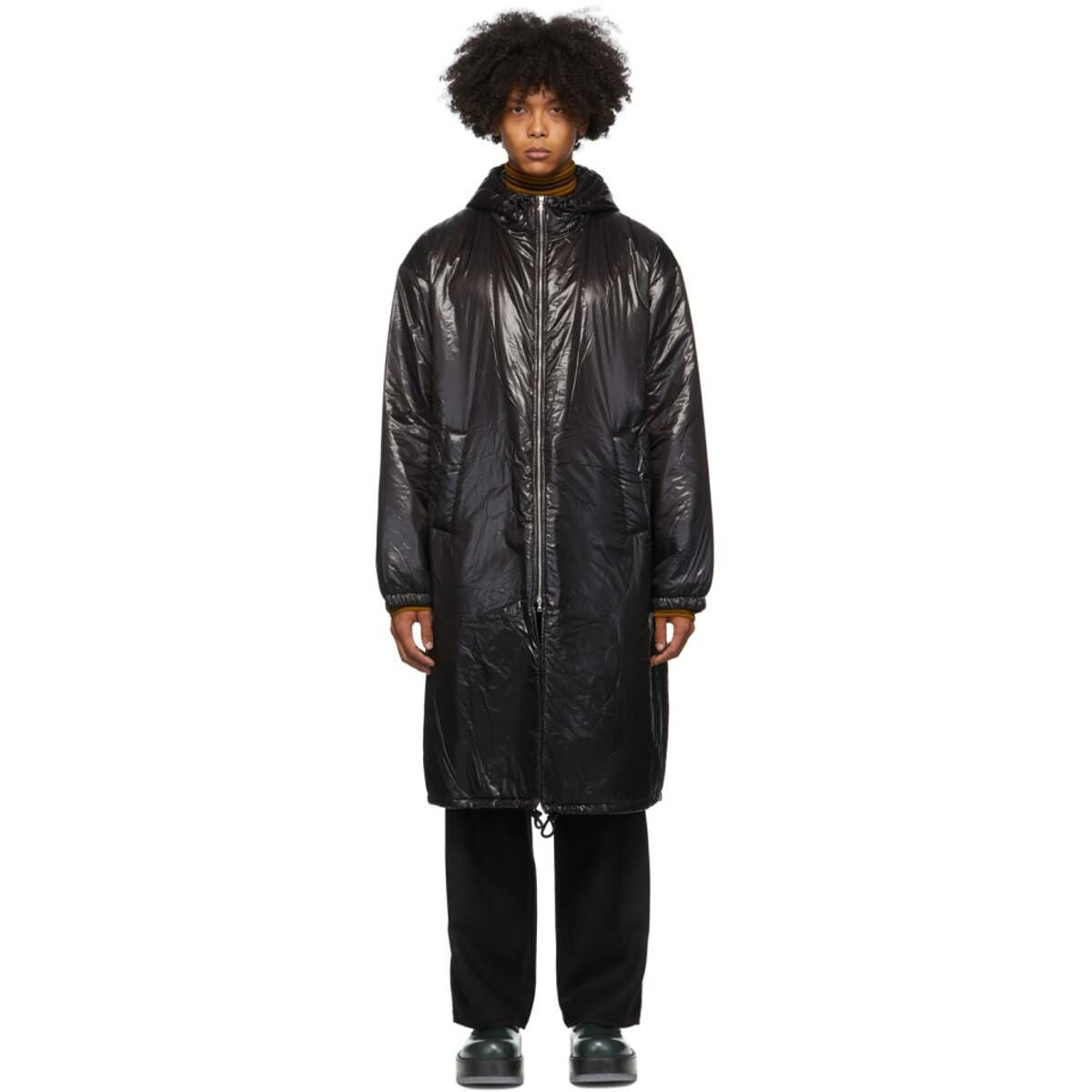 Dries Van Noten Black Shiny Long Coat Ssense USA MEN Men FASHION Mens COATS