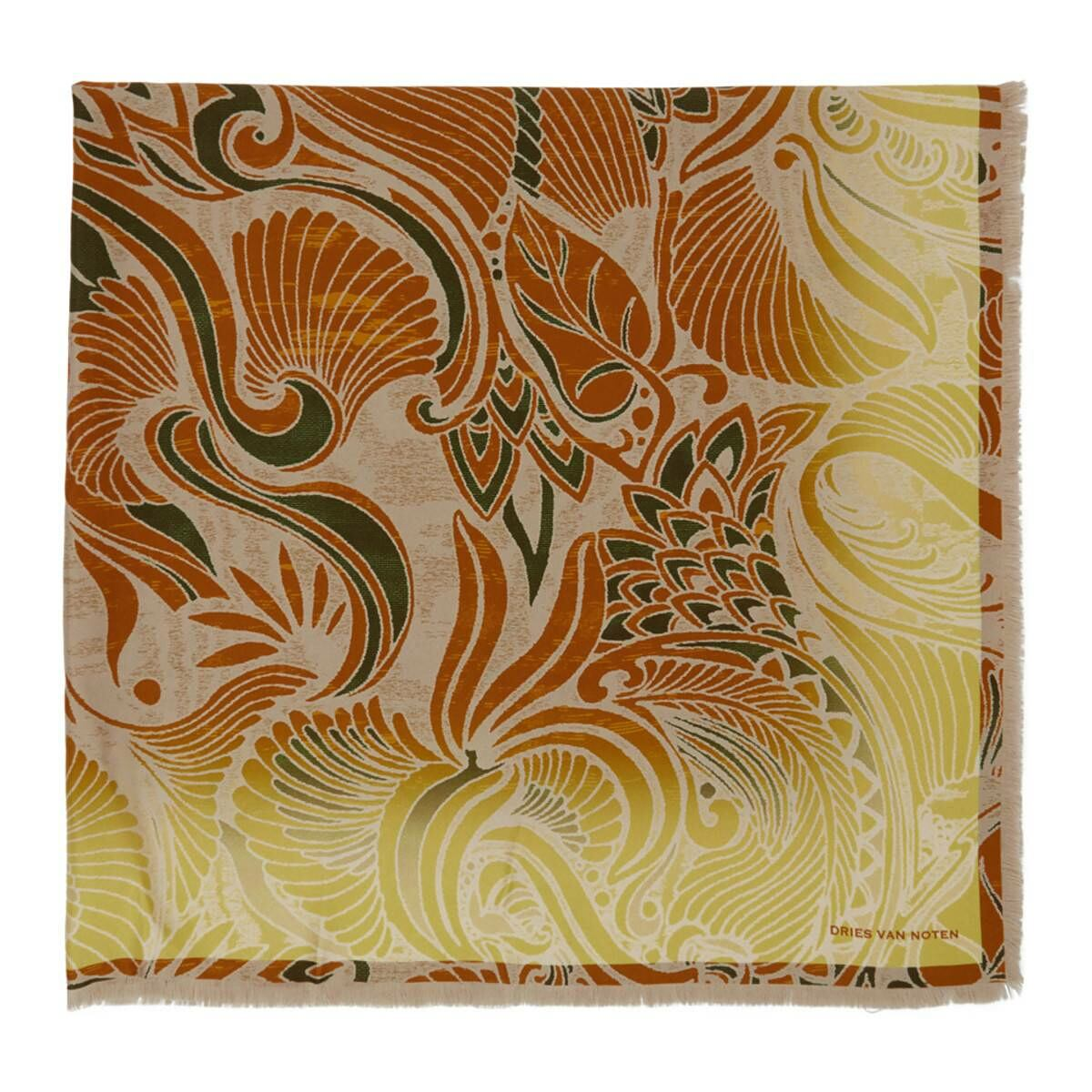 Dries Van Noten Yellow Silk Floral Scarf Ssense USA MEN Men ACCESSORIES Mens SCARFS