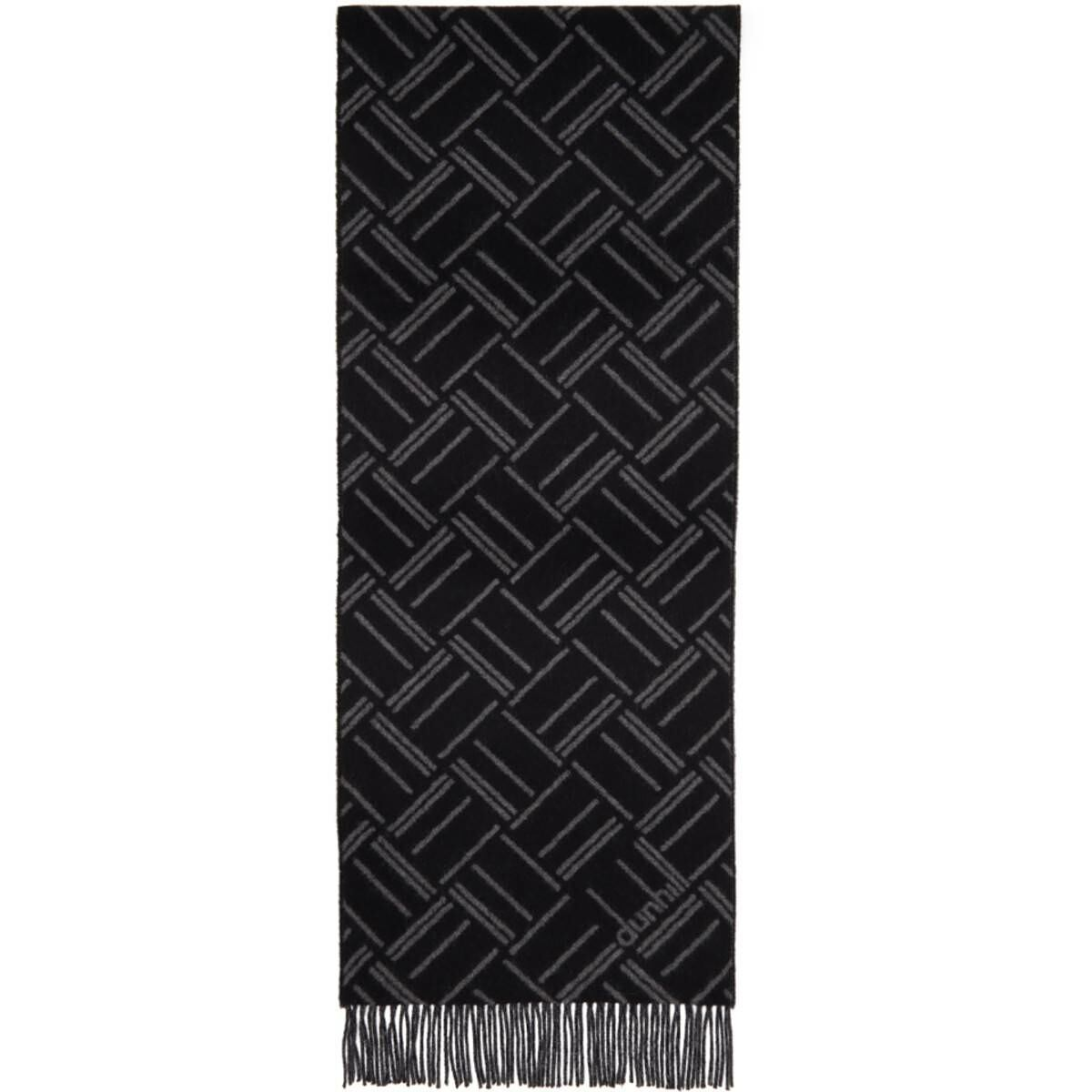 Dunhill Black and Grey Abstract Longtail Jacquard Scarf Ssense USA MEN Men ACCESSORIES Mens SCARFS