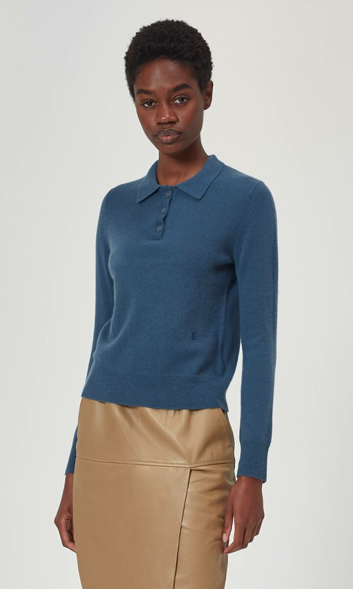 Equipment orion blue Madalyn Cashmere Polo Sweater WOMEN