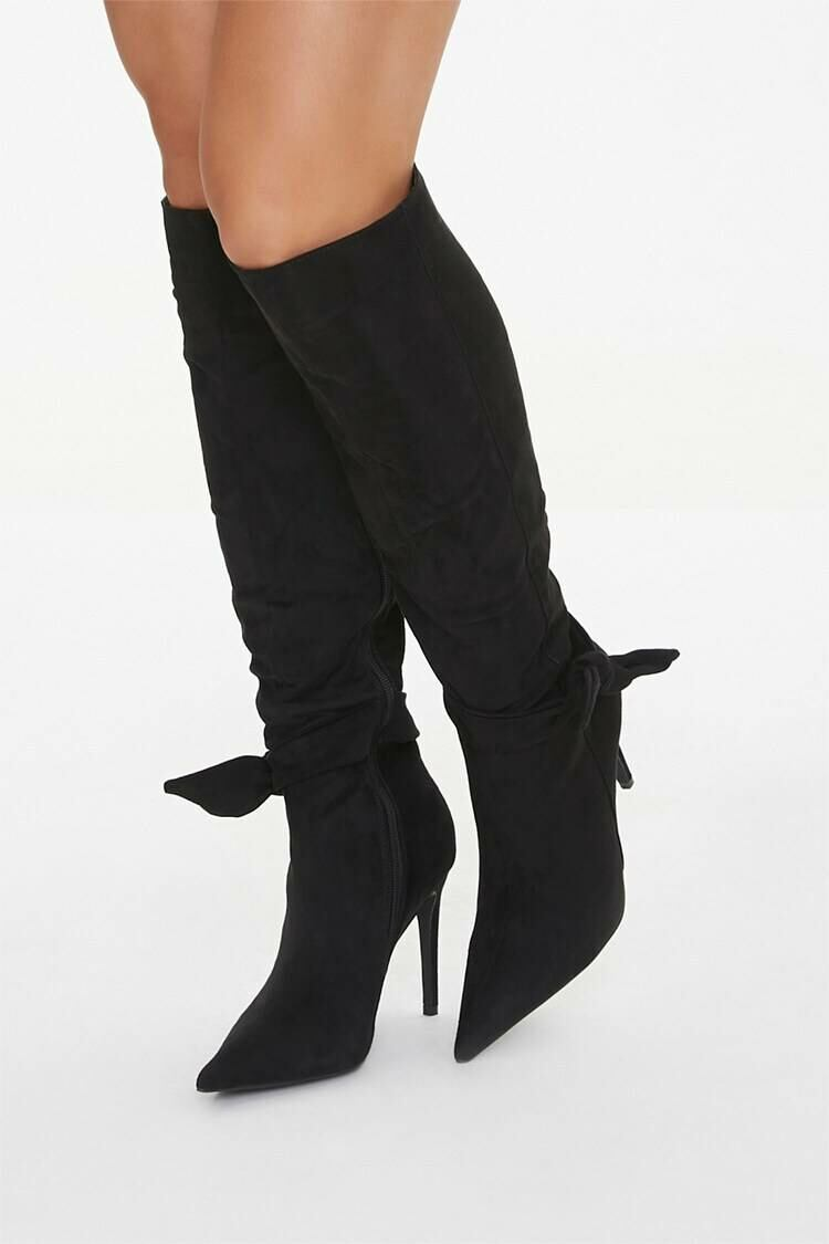 Forever 21 Black Bow Knee-High Boots WOMEN Women SHOES Womens BOOTS
