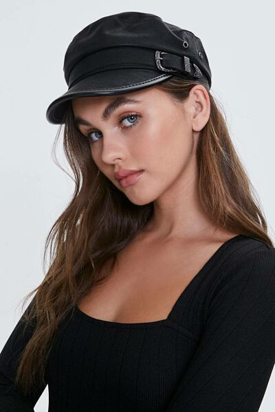 Forever 21 Black Buckled Cabbie Hat WOMEN Women ACCESSORIES Womens HATS