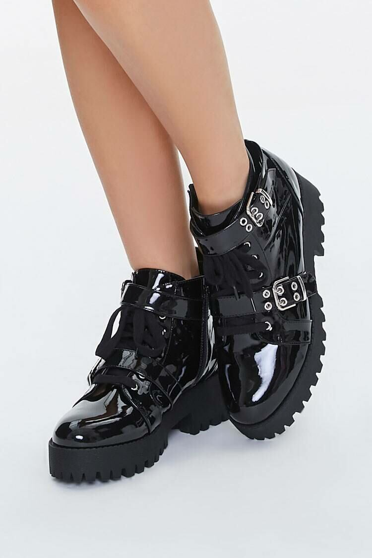 Forever 21 Black Buckled Faux Patent Leather Ankle Boots WOMEN Women SHOES Womens ANKLE BOOTS