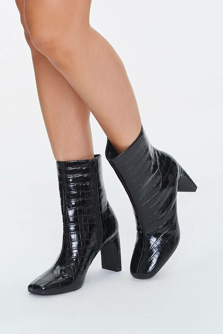 Forever 21 Black Cracked Faux Leather Booties WOMEN Women SHOES Womens ANKLE BOOTS