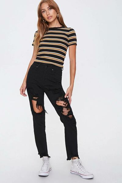Forever 21 Black Distressed Skinny Ankle Jeans WOMEN Women FASHION Womens JEANS