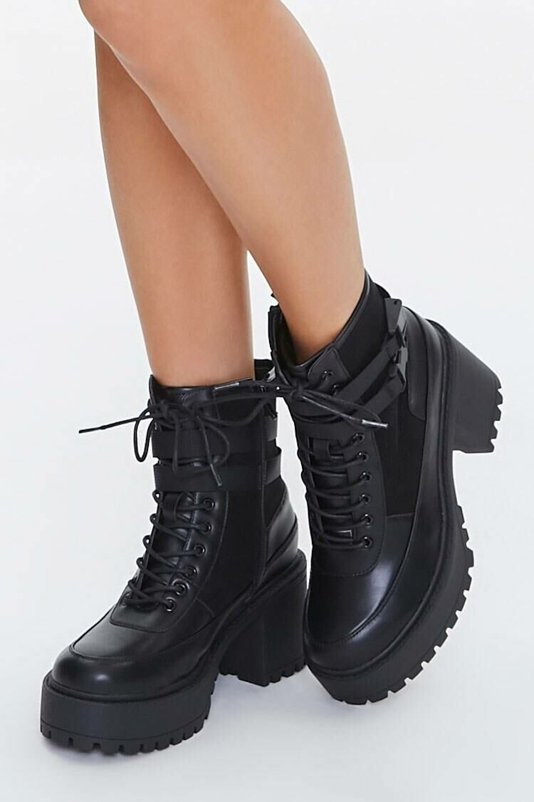 Forever 21 Black Dual-Strap Platform Ankle Boots WOMEN Women SHOES Womens ANKLE BOOTS