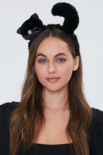 Forever 21 Black Faux Fur Cat Headband WOMEN Women ACCESSORIES Womens HATS