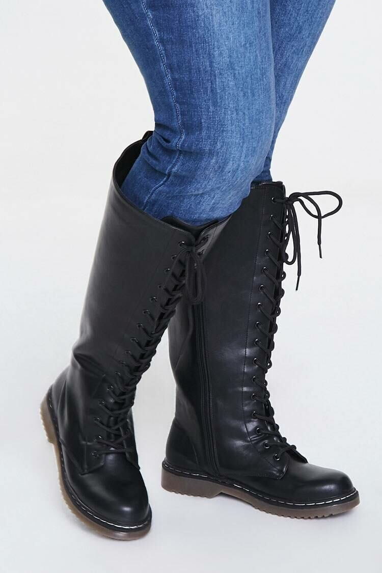Forever 21 Black Faux Leather Combat Boots (Wide) WOMEN Women SHOES Womens BOOTS