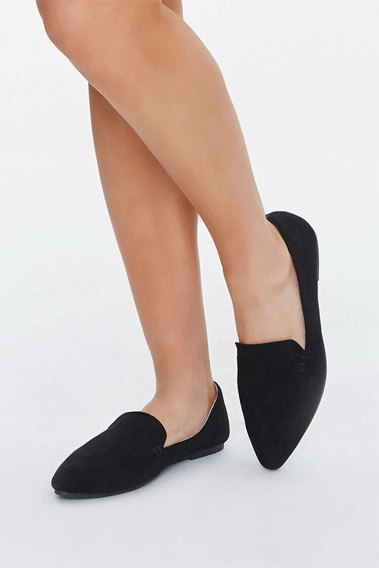 Forever 21 Black Faux Suede Pointed Loafers WOMEN Women SHOES Womens FLAT SHOES