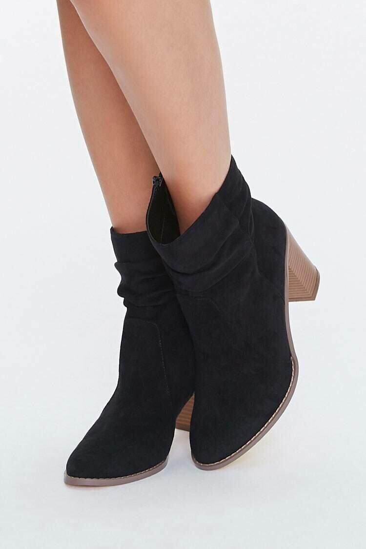 Forever 21 Black Faux Suede Slouchy Booties WOMEN Women SHOES Womens ANKLE BOOTS