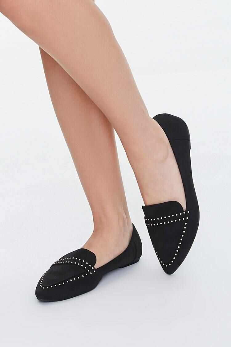 Forever 21 Black Faux Suede Studded Loafers WOMEN Women SHOES Womens FLAT SHOES