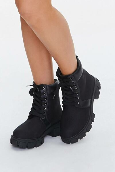 Forever 21 Black Lug Sole Lace-Up Ankle Boots WOMEN Women SHOES Womens ANKLE BOOTS
