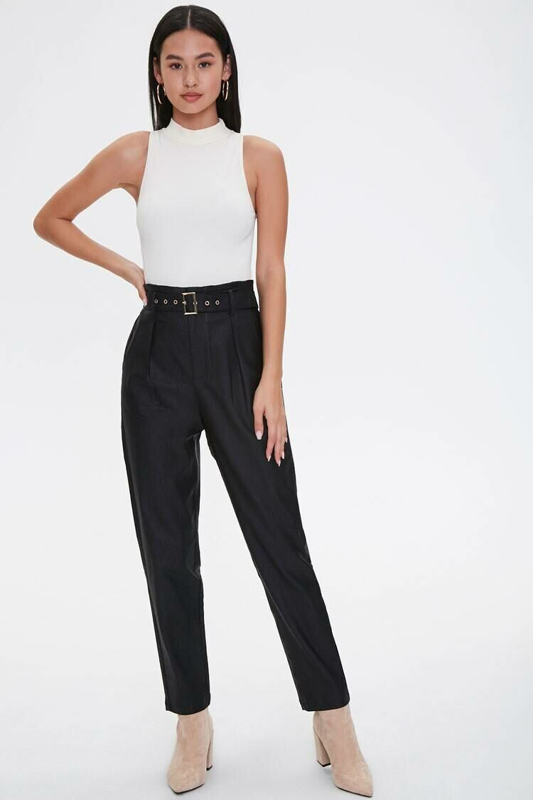 Forever 21 Black Paperbag Belted Pants WOMEN Women FASHION Womens TROUSERS