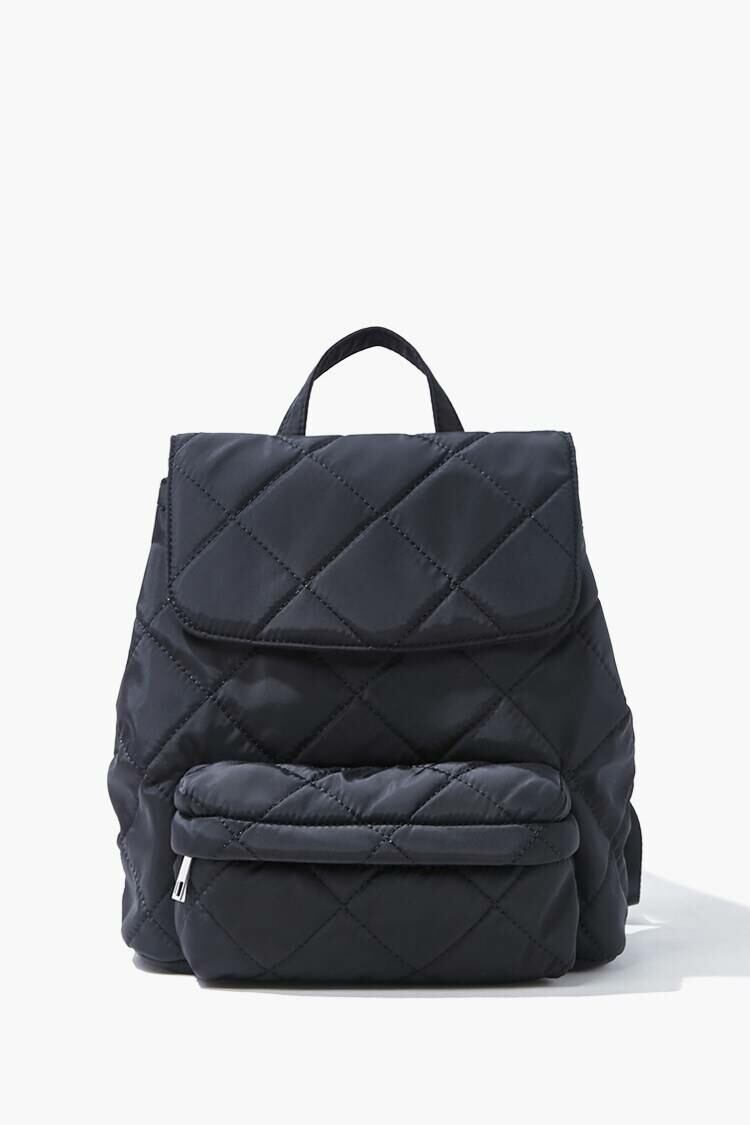 Forever 21 Black Quilted Flap-Top Backpack WOMEN Women FASHION Womens TOPS