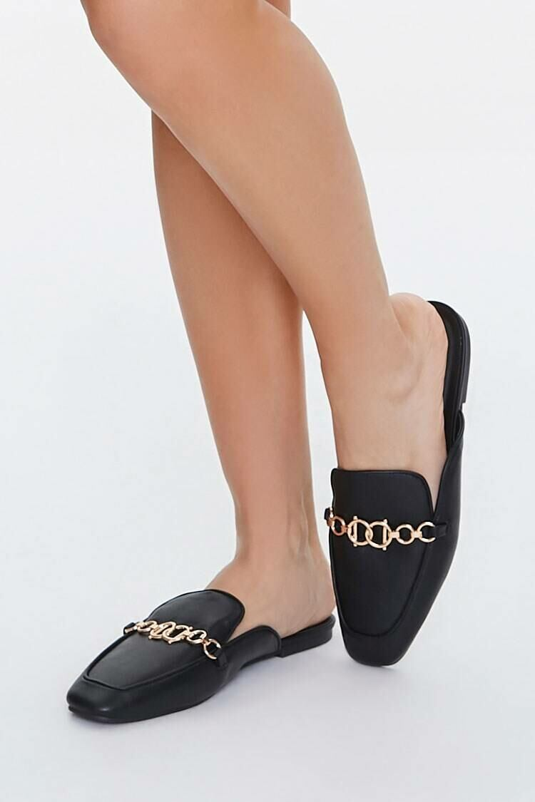 Forever 21 Black Rolo Chain Loafers WOMEN Women SHOES Womens FLAT SHOES