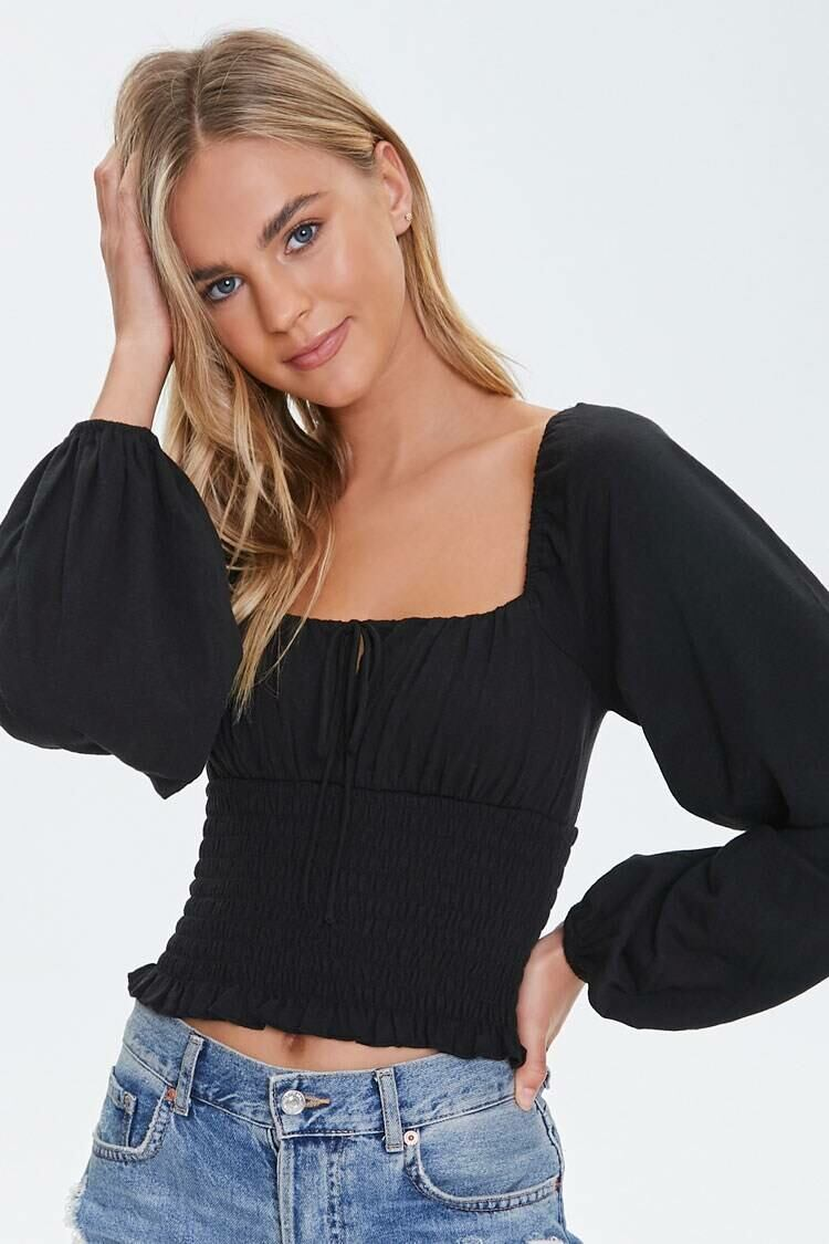 Forever 21 Black Smocked Peasant-Sleeve Top WOMEN Women FASHION Womens TOPS