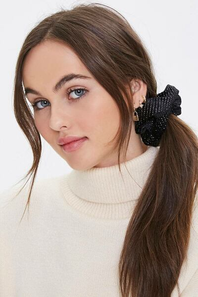 Forever 21 Black Studded Scrunchie WOMEN Women ACCESSORIES Womens HATS