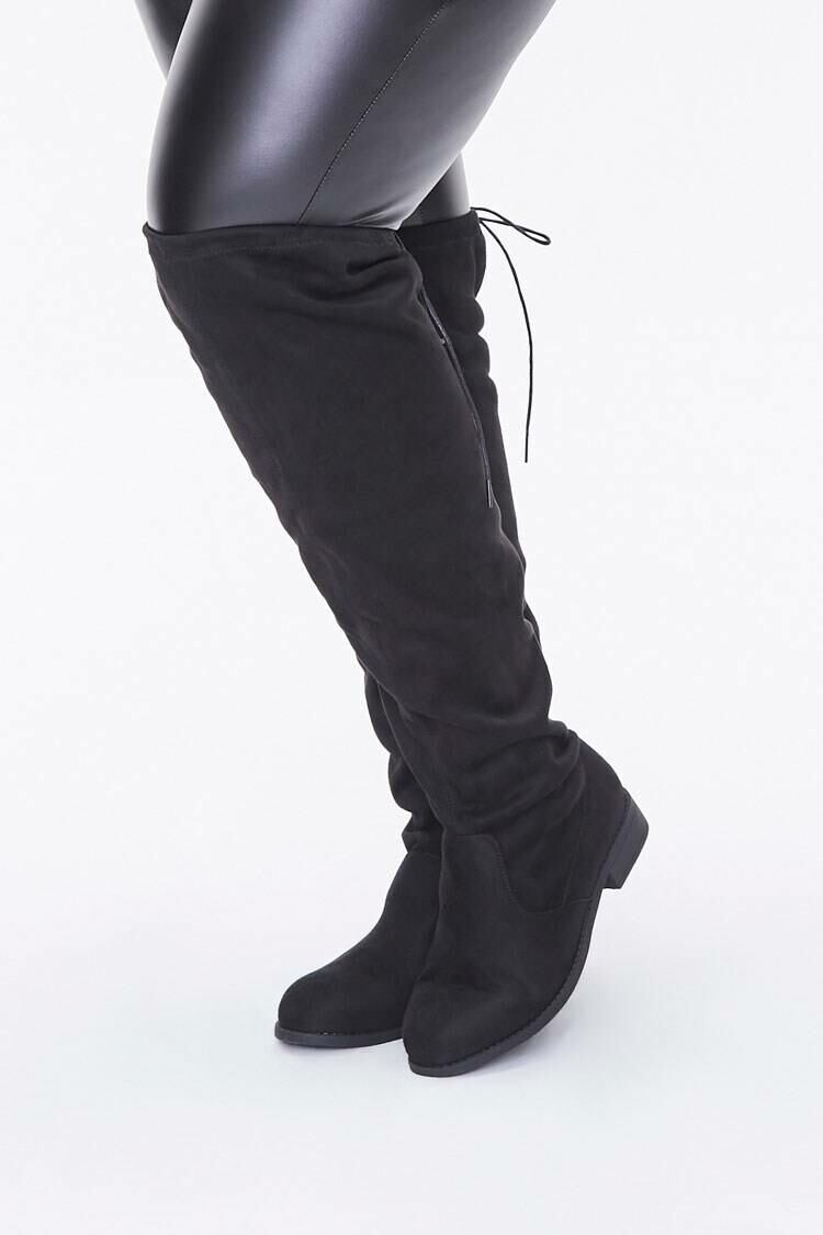Forever 21 Black Thigh-High Faux Suede Boots (Wide) WOMEN Women SHOES Womens BOOTS