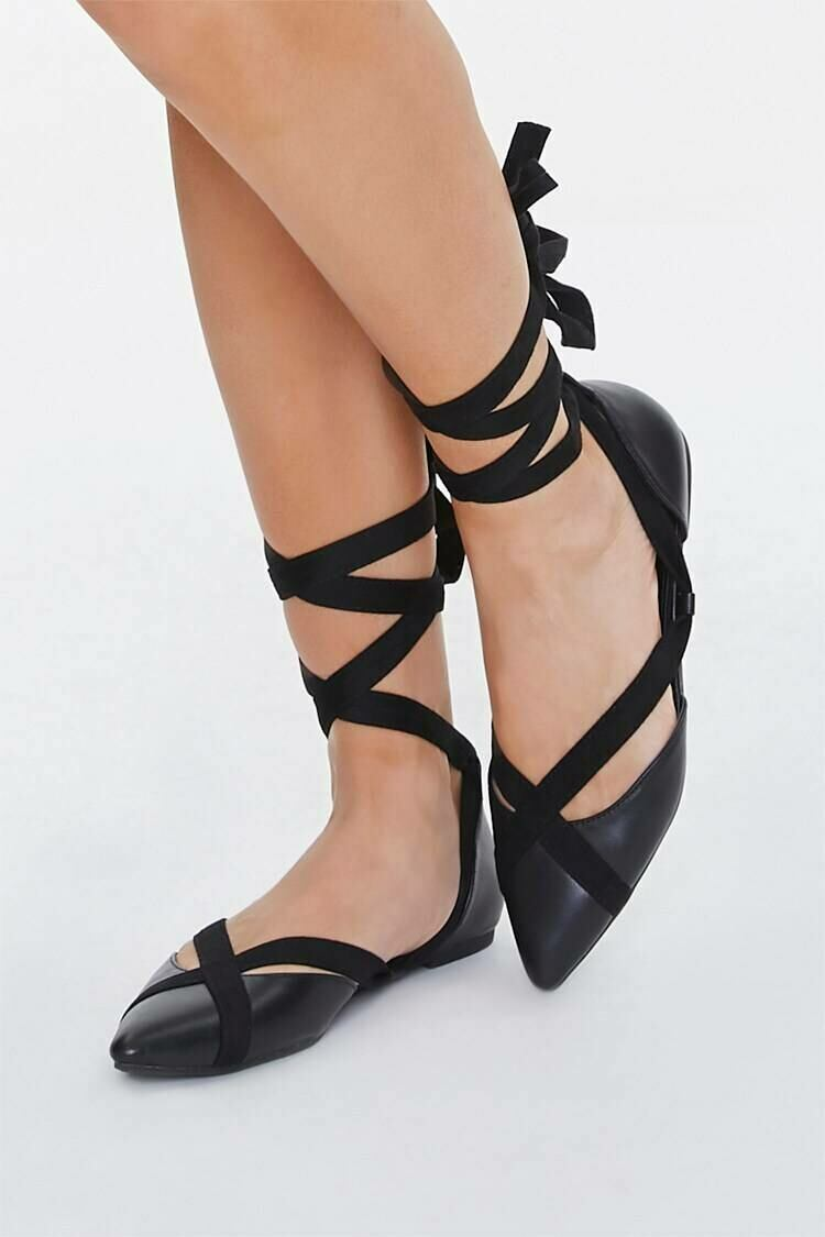 Forever 21 Black Wraparound Lace-Up Flats WOMEN Women SHOES Womens FLAT SHOES