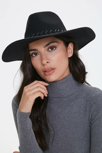 Forever 21 Black/Black Whipstitched-Trim Fedora WOMEN Women ACCESSORIES Womens HATS