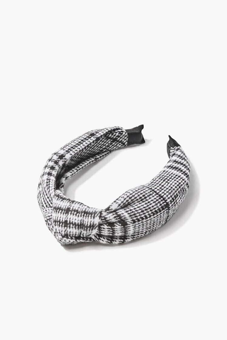 Forever 21 Black/Cream Knotted Plaid Headband WOMEN Women ACCESSORIES Womens HATS
