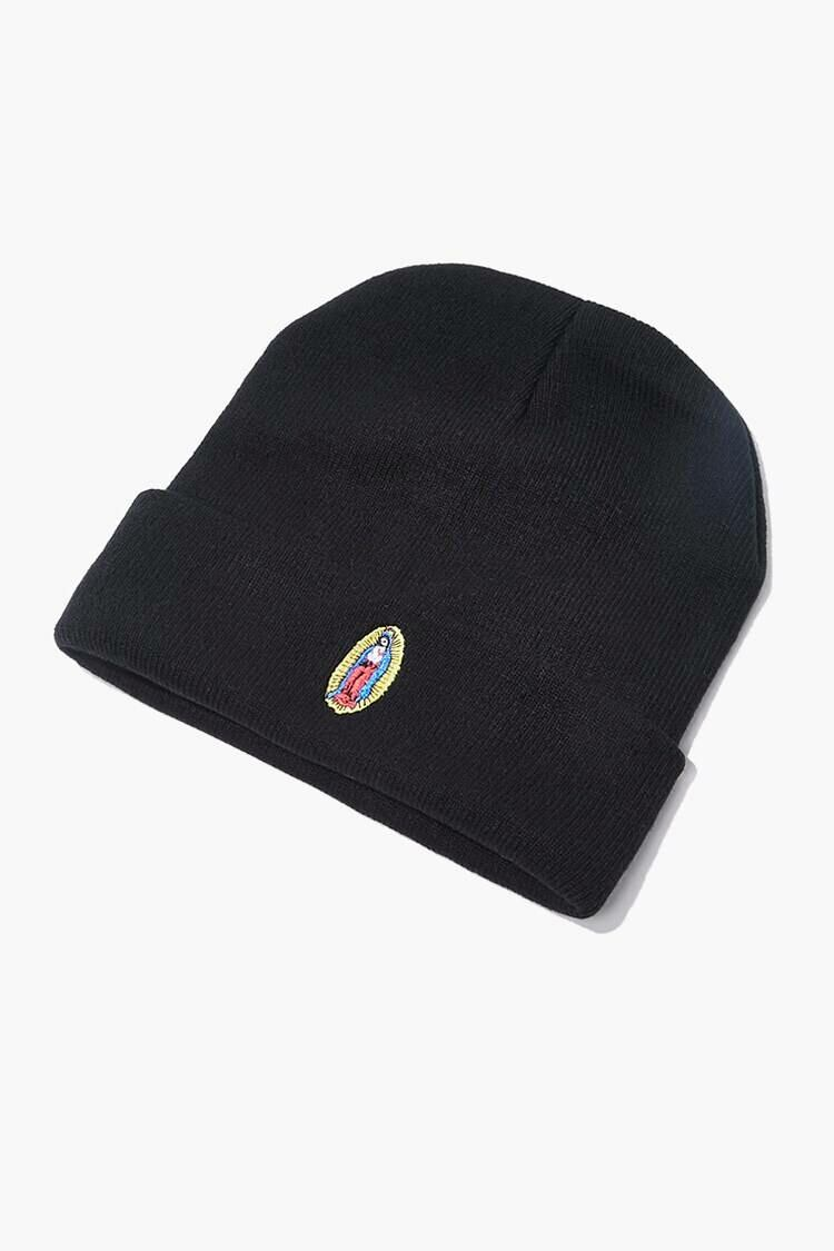 Forever 21 Black/Multi Embroidered Guadalupe Graphic Beanie MEN Men ACCESSORIES Mens HATS