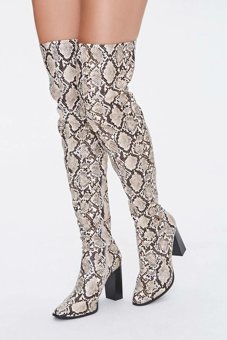 Forever 21 Black/Multi Faux Snakeskin Over-the-Knee Boots WOMEN Women SHOES Womens BOOTS