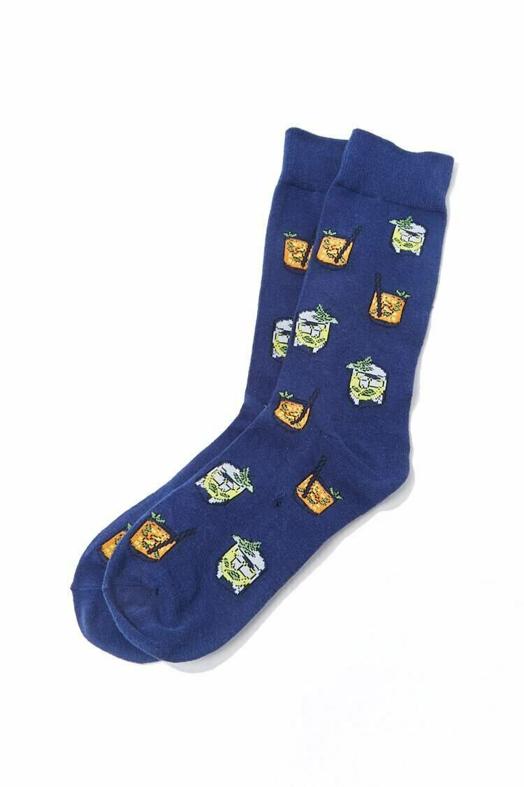 Forever 21 Black/Multi Lemonade Print Crew Socks MEN Men ACCESSORIES Mens SOCKS