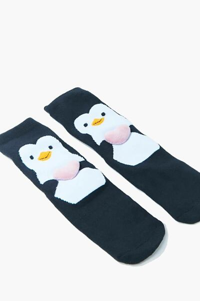 Forever 21 Black/Multi Penguin Crew Socks WOMEN Women ACCESSORIES Womens SOCKS