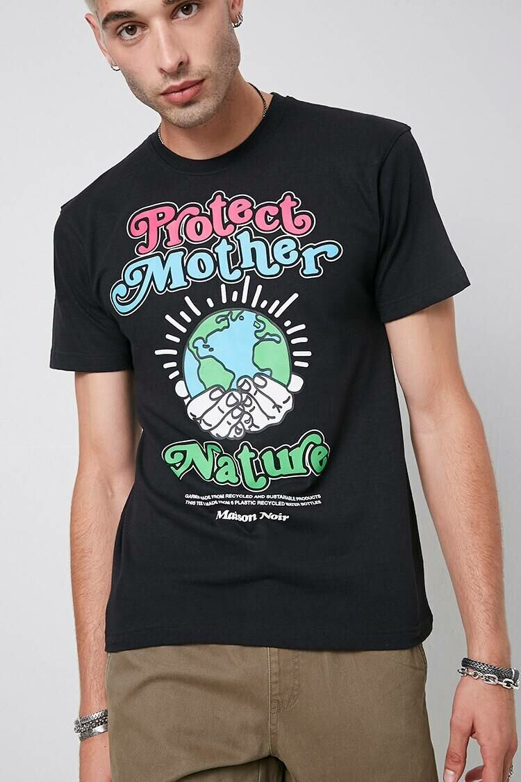 Forever 21 Black/Multi Protect Mother Nature Graphic Tee MEN Men FASHION Mens T-SHIRTS