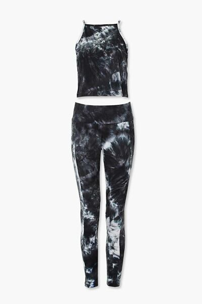 Forever 21 Black/Multi Tie-Dye Cami & Leggings Set WOMEN Women FASHION Womens LEGGINGS
