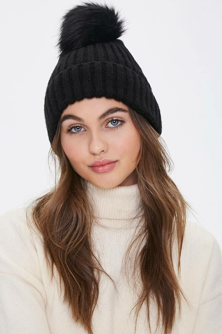 Forever 21 Black/White Ribbed Pom Pom Beanie WOMEN Women ACCESSORIES Womens HATS