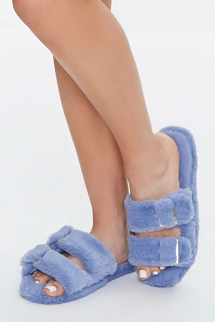 Forever 21 Blue Faux Fur Dual-Strap Slippers WOMEN Women SHOES Womens SLIPPERS