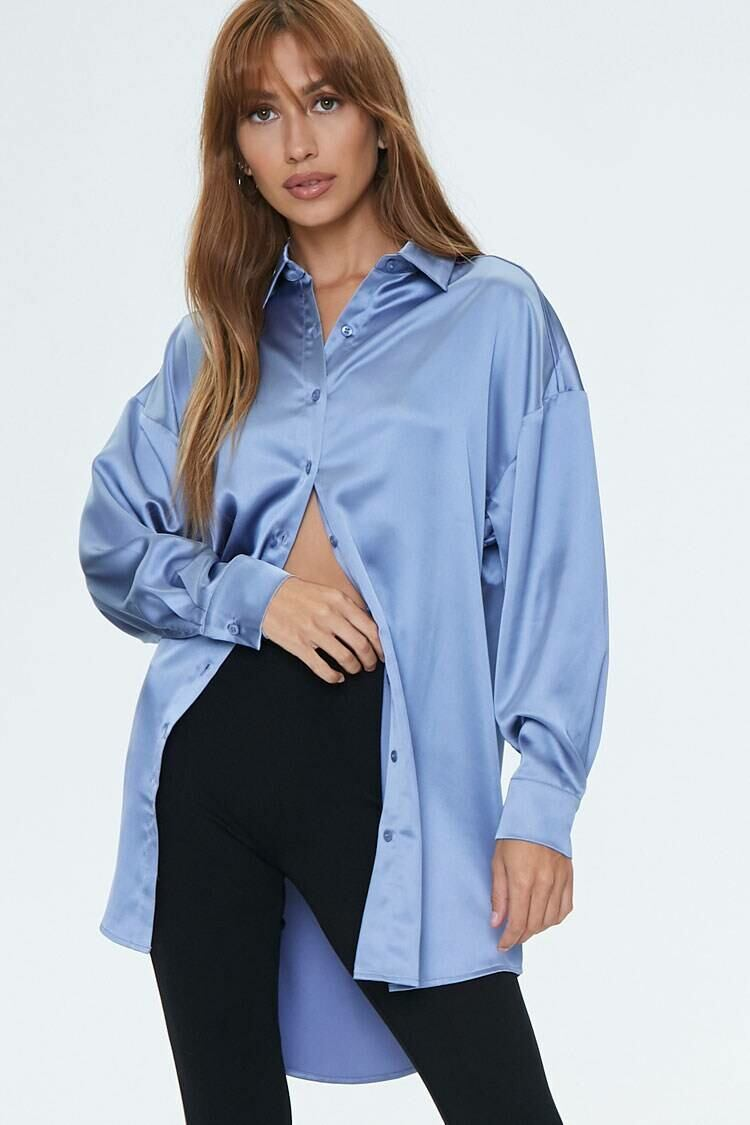 Forever 21 Blue Satin Drop-Sleeve Shirt WOMEN Women FASHION Womens SHIRTS