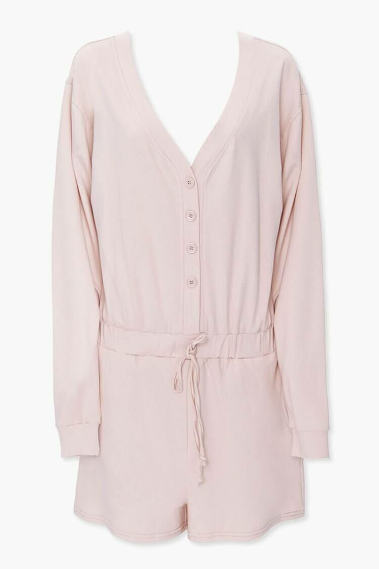Forever 21 Brown Buttoned Drop-Sleeve Romper WOMEN Women FASHION Womens JUMPSUITS