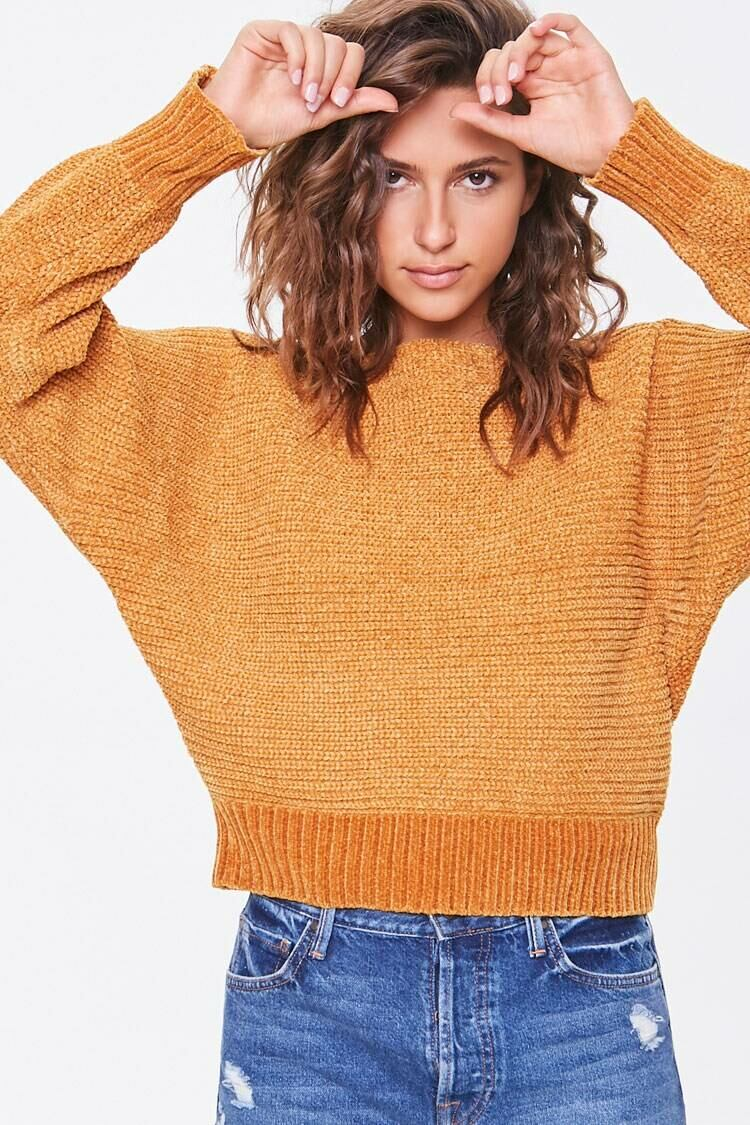 Forever 21 Brown Chenille Boat Neck Sweater WOMEN Women FASHION Womens SWEATERS
