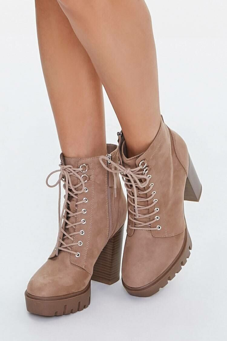 Forever 21 Brown Faux Suede Platform Ankle Boots WOMEN Women SHOES Womens ANKLE BOOTS