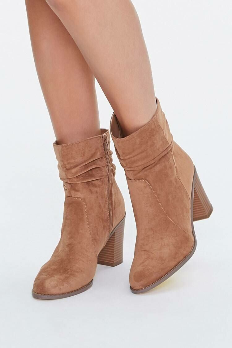 Forever 21 Brown Faux Suede Slouchy Booties WOMEN Women SHOES Womens ANKLE BOOTS